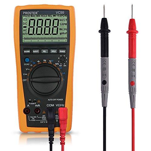 Proster VC99 6999 Digital-Multimeter Mit groß LCD Multimeter Voltmeter Amperemeter Ohmmeter für Spannug Strom Widerstand AC DC Kapazität Frequenz Celsius Temperatur