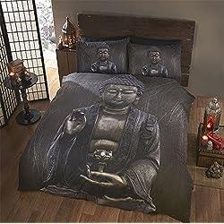 Diseño de Buda Set de funda de edredón con fundas de almohada, disponible en solo, doble, King y Superking, Gris, Doublé
