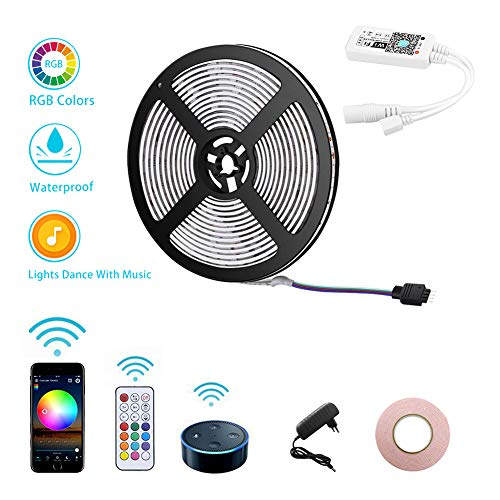 Opard Led Strip alexa 5m - LED Streifen mit RF Fernbedienung Google Home, Wifi Wireless Smart Phone Gesteuert - LED Stripes Wasserdicht 150Leds 5050 SMD RGB LED Band (5m)