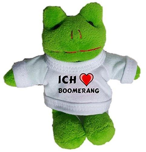 Plüsch Frosch Schlüsselhalter mit einem T-shirt mit Aufschrift mit Ich liebe Boomerang (Vorname/Zuname/Spitzname)