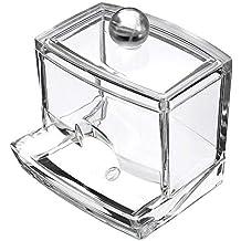 caja organizadora de almacenamiento con tapa dispensador de bastoncillos de algod/ón Vikenner Soporte para almohadillas de algod/ón acr/ílico para cosm/éticos