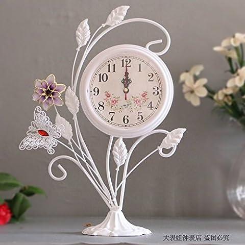 Damjic Diewu La Mode Européenne En Fer Forgé Blanc Horloge Horloge Horloge Muet 25*35Cm Décoration Décoration Salon