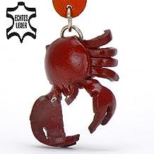 Monkimau Krebs Krabbe Leder Schlüssel-anhänger Deko-Figur 3D Charm-s Kinder Mädchen Damen Geschenk-e rot 5cm klein