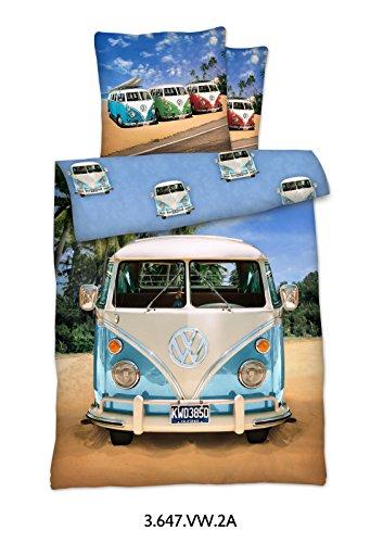 LINON WENDE BETTWÄSCHE VW BULLI 135 cm x 200 cm + 80 cm x 80 cm NEU & OVP - 100% BAUMWOLLE VOLKSWAGEN VW BUS EXKLUSIV Auto-bett Disney