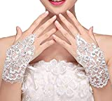 PALAY® Bridal Lace Fingerless Gloves | Crystals Lace Brides Accessory For Wedding Formal