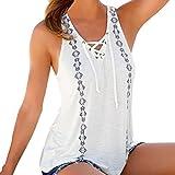 iHENGH Damen Sommer Drucken V-Ausschnitt Bandagen ärmellose Träger Weste Shirt Tank Tops Bluse T-Shirt(X-Large,Weiß)