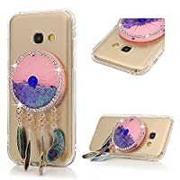A3 2017 Case, Galaxy A3 Glitter Case, YOKIRIN Transparent Clear 3D Creative Moving Floating Sparkle Love Hearts Stars Liquid Bling Protective Case for Samsung Galaxy A3 2017, Purple Dreamcatcher
