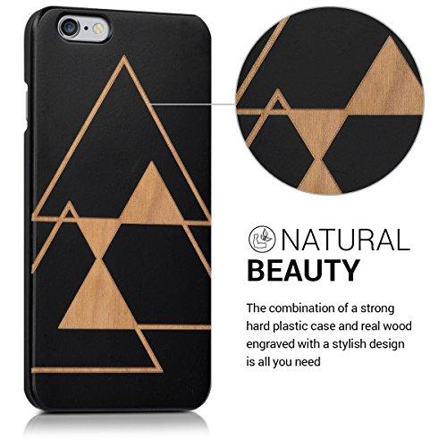 kalibri Housse en bois avec gravure laser pour Apple iPhone 6 / 6S - Cover Case Premium avec plastique en Design Éclats Triangle noir marron clair
