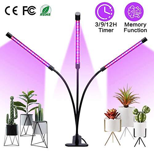 XLQF La Planta Llevada 30W Crece La Luz, Jefes Triples Crecientes De La Lámpara con 3/6 / 12H Intervalo La Definición, 5 Niveles Regulables Y 3 Modos Espectral, para Las Plantas De Interior