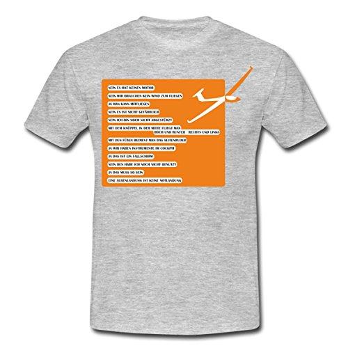 Spreadshirt Segelfliegen Häufige Fragen Segelflugzeug Männer T-Shirt, XXL, Grau Meliert