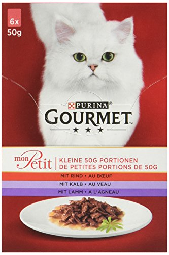 Gourmet Mon Petit Katzennassfutter Fleisch-VariatiOnen, 8er Pack (8 x 6 x 50 g) Packung