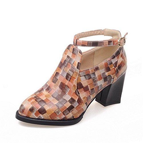 AllhqFashion Damen Schnalle Pu Leder Spitz Zehe Hoher Absatz Pumps Schuhe Aprikosen Farbe