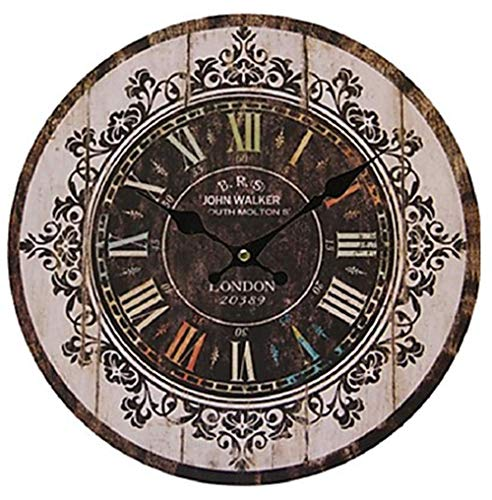 Ailing antique/casual / country wood round indoor, orologio da parete a batteria,c,m