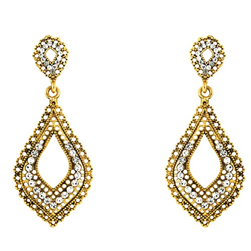 Donna Fashion White Leaf Mesh Gold Plated Dangler Earrings with Crystals for Women ER30082G  available at amazon for Rs.279