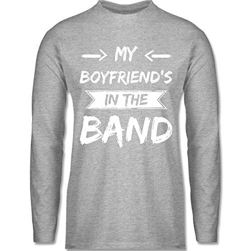 Shirtracer Statement Shirts - My Boyfriend's in The Band - Herren Langarmshirt Grau Meliert