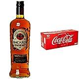 Bacardi Oakheart Spiced Rum (1 x 1 l) mit Coca-Cola Einweg Dose, 10er Pack, Einweg (10 x 330 ml)