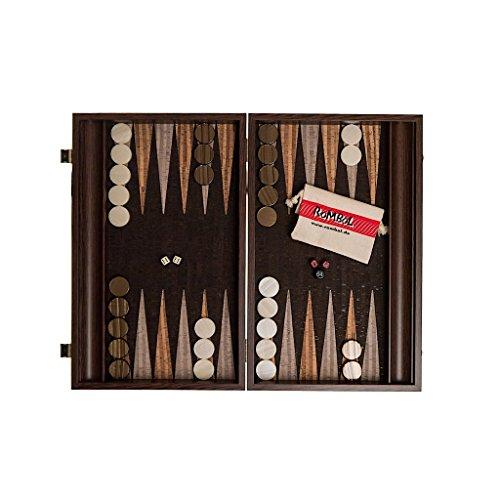 ROMBOL Backgammon, Luxus Kassette, Wenge mit Kork Intarsie, Holz, 47,5 cm