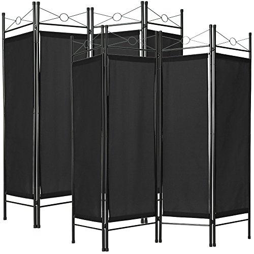TecTake 2x Raumteiler Trennwand Paravent spanische Wand 4tlg |180x160cm - diverse Farben und Mengen - (2x Schwarz | Nr. 401832)