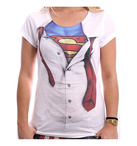 Superman Super Blouse Maglia donna bianco S