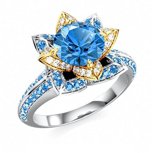 Vorra Fashion Damen 925Silber Disney Princess-blau & Weiß CZ Solitaire mit Akzenten Ring (Blau Disney Princess-ring)