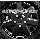 "14"" inch Matt Black Multi 7 Spoke Sports Look Design Car Wheel Trims Hub Cap Covers Set"