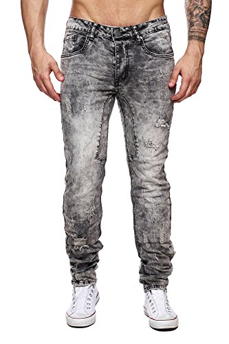MEGASTYL Herren Hose Acid-Washed Destroyed Jeans Grau Anthrazit Slim-Fit Skinny 5-Pocket Stretch-Denim, GRÖSSE:W36 / L32 (Fit Jean 5-pocket-easy)