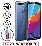 New&Teck® Coque Huawei Y7 2018 - Protection intégrale Avant + arrière en Rigide, Housse Etui Tactile 360 degré - Antichoc, Transparent Y7 2018