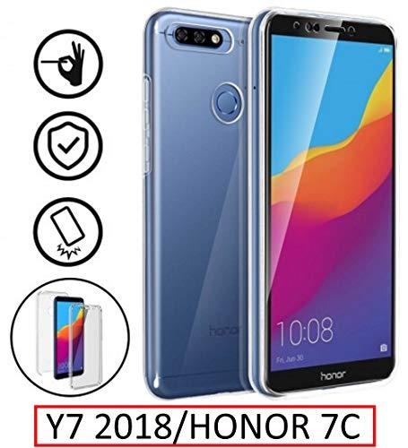 New & Teca–Carcasa Huawei Y72018–Protección Integral Frontal + Trasera en rígida, Funda–Funda táctil 360Grado–antigolpes, Transparente Y72018