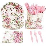 Set di stoviglie usa e getta-serve 24-floreale party pack- include plastica coltelli, cucchiai, forchette, piatti, tovaglioli, tazze, nero, bianco