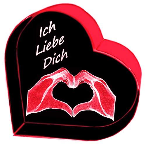 Kaltner Präsente Geschenkidee - Herz aus Glas: Kristallglas mit 3D-Laser-Gravur Herz Hände - Ich Liebe Dich