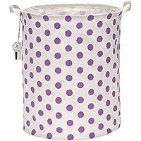 """Sea Team 19.7"""" Large Sized Waterproof Coating Ramie Cotton Fabric Folding Laundry Hamper Bucket Cylindric Burlap Canvas Storage Basket with Stylish Purple & White Polka Dot Design"""