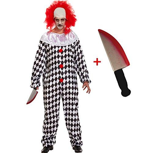 Mens Herren Scary Clown + Gefälschte Messer (Clown Kostümen Scary)