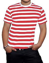 Islander Fashions Hombre de Manga Corta con Cuello Redondo Rayas Camiseta  Adultos Fancy Party Wear tee 71cc24d56236f