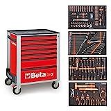 Beta Easy Chariot à outils avec 7tiroirs avec 210pièces Assortiment d'outils pour la réparation de voitures, 2400S-M o7/E, orange