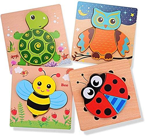 EKKONG 3D Tier Holzpuzzle für Kinder, Steckpuzzle Eule Schildkröte Marienkäfer Biene, Holzspielzeug Geschenke, Sortierspiel Lernspielzeug Baby Spielzeug für kleine Jungen Mädchen (4 Teiliges)