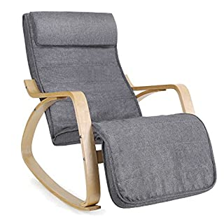 SONGMICS Sessel Schaukelstuhl Schwingstuhl Relaxstuhl Leinenimitat grau LYY11G, Holz, 67 x 115 x 91 cm