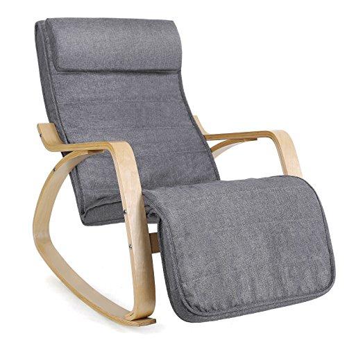 SONGMICS Rocking Chair Fauteuil à Bascule avec Repose-Pieds réglable à 5 Niveaux Design Charge Maximum 150 kg Gris Lin LYY11G