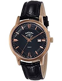 Rotary Men's Quartz Watch with Black Dial Analogue Display and Black Leather Strap GS90116/04