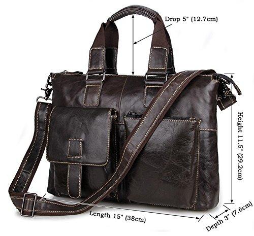 Everdoss Hommes sac à main en cuir véritable sac à bandoulière sac de messager sac d'épaule sac d'ordinateur sac de business style rétro gris