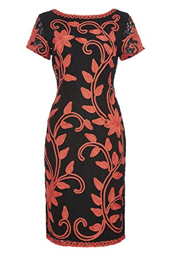 Roman Originals Women's Tapework Embroidered Lace Dress Coral UK Size 10-20