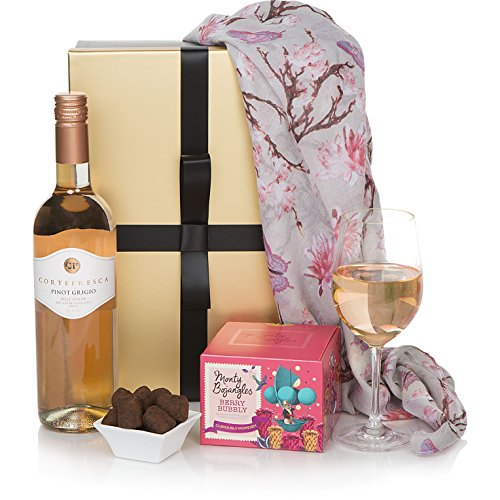 Ladies Delight Hampers Gift Basket - Luxury Birthday Hampers For Mum or For Her - Rose Wine & Chocolates Birthday Hamper For Her