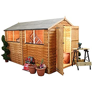10x6 overlap wooden apex garden shed windows double doors felt included by