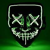 AUSHEN Maschera di Halloween LED Maschere Divertenti Leggeri Super Festival Cosplay Maschera Purging LED Clown Mask (Verde Fluorescente)