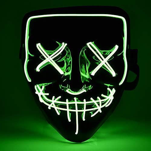 AUSHEN Halloween Maske LED Lustige Masken Leichte Super Festival Cosplay Maske Bereinigen LED Clown Maske (Fluoreszierend Grün)