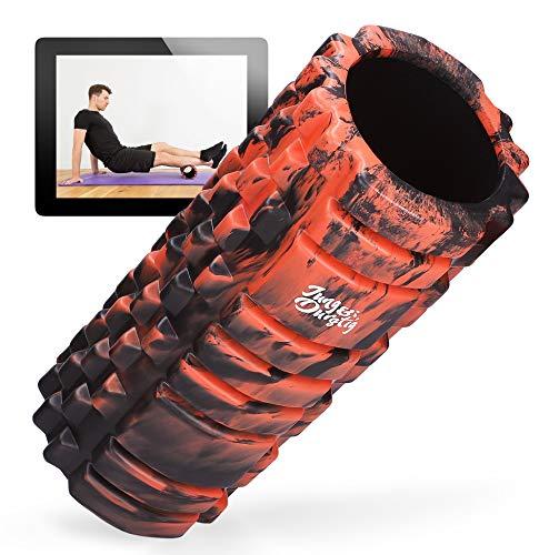 Jung & Durstig Original Camouflage Faszienrolle | Massagerolle für Beine, Rücken und Wirbelsäule | Genoppte Schaumstoffrolle inklusive E-Book zur Selbstmassage mittlerer Härte (Rot)