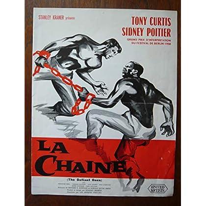 Dossier de presse de La Chaine – The Defiant Ones (1958) – 31x48cm - Film de Stanley Kramer avec Tony Curtis, Sidney Poitier – Photos N&B – résumé scénario - Bon état.