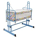 #8: Baybee New Born Baby Sleep Swing Cradle | Bedding set with Mosquito Net | Lightweight and Transportable ( Blue )