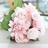 Meiliy 1 gruppe 8 pcs künstliche rose dahlia daisy blumenstrauß braut brautjungfer blumen für home hotel büro hochzeitsfeier garten handwerkliche kunst dekor, rosa und champagner