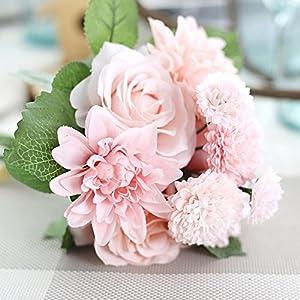 meiliy 1ramo 8pcs artificial rosa Dahlia margaritas flores ramo novia dama Holding Flores para Hogar Hotel Oficina Boda Fiesta Jardín Artesanía Arte Decoración