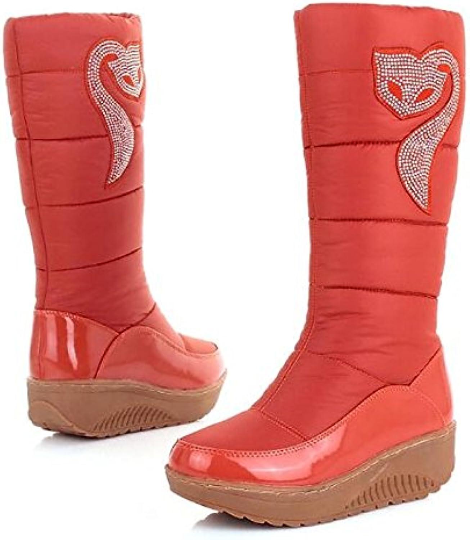 HSXZ Zapatos de mujer de algodón tejido de poliamida Otoño Invierno botas botas de nieve talón PLANO PUNTA REDONDA...